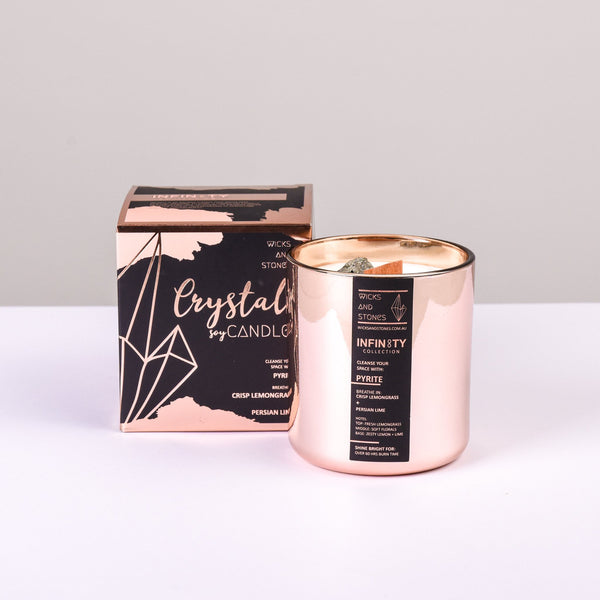 WICKS AND STONES CANDLE - WANDERLUST COLLECTION - PYRITE