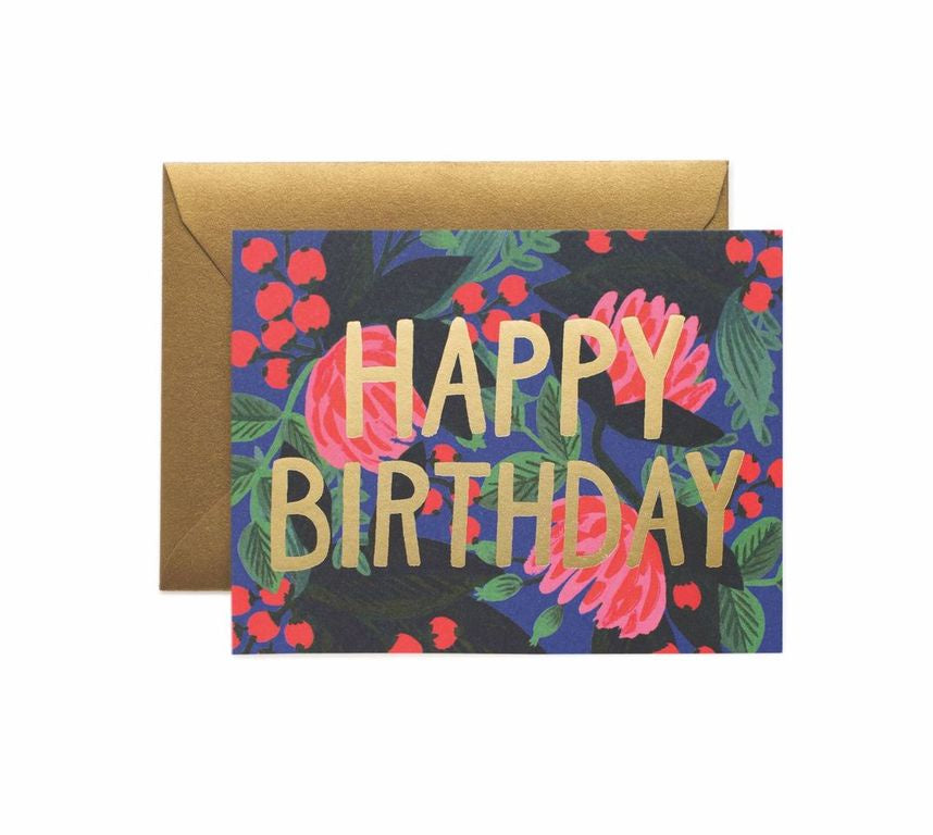 Rifle Paper Co - Single Card - Floral Foil Birthday