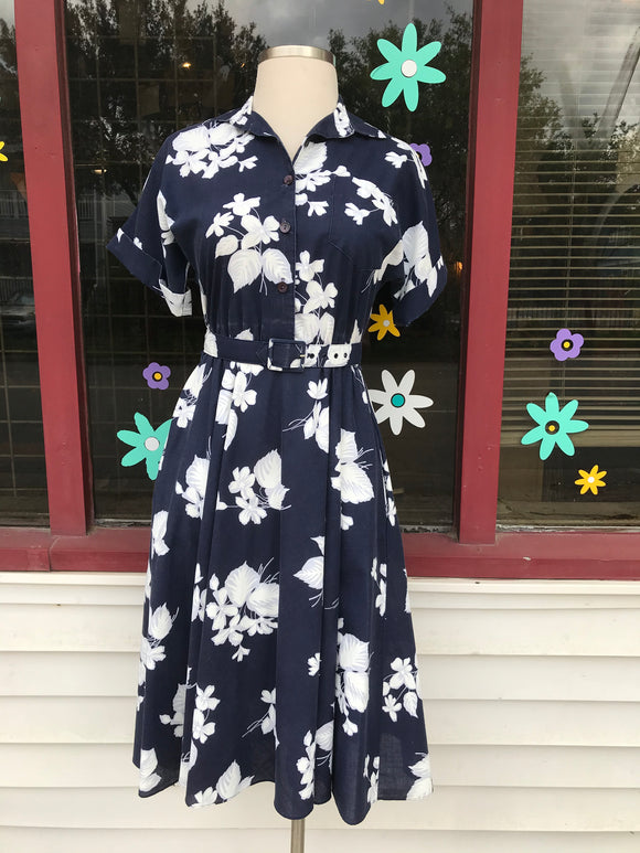 1980's does 50's Navy white floral Dress w/matching belt & pockets.