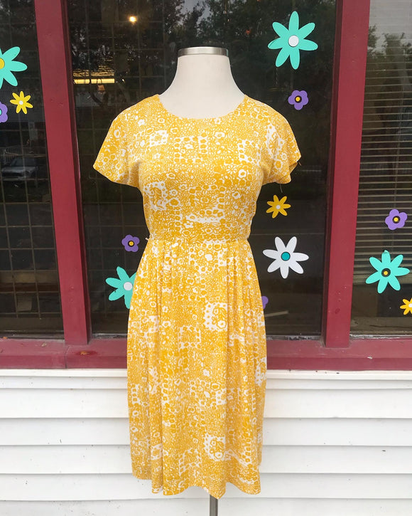 1950's Yellow & White floral dress