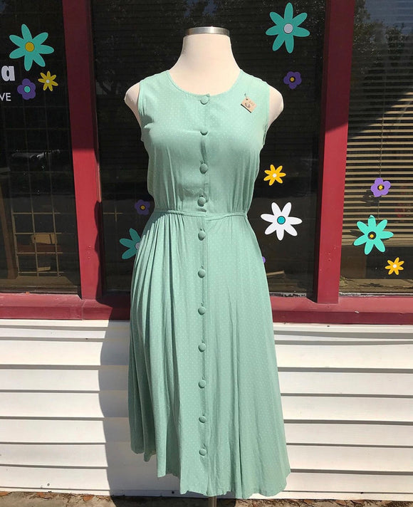 Mint Green polka dot button down Midi Dress