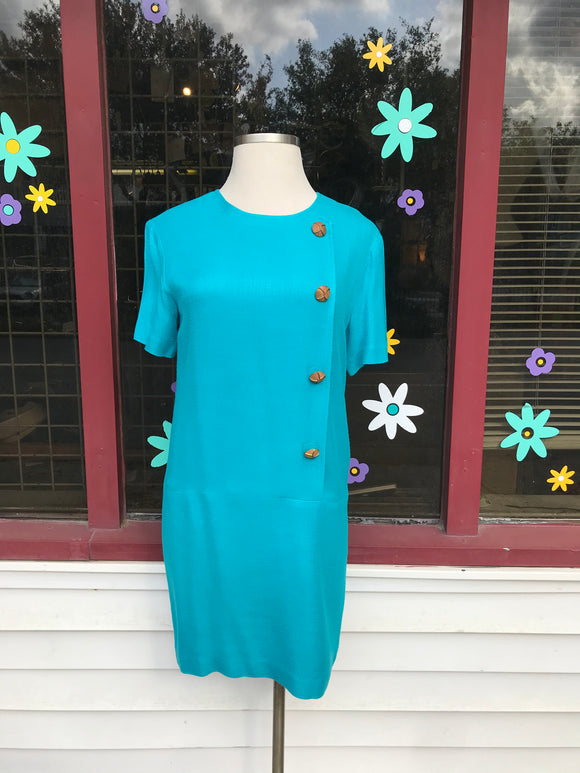 Turquoise Shift Dress w/gold buttons. ⁣ ⁣⁣⁣⁣⁣⁣⁣⁣⁣⁣⁣