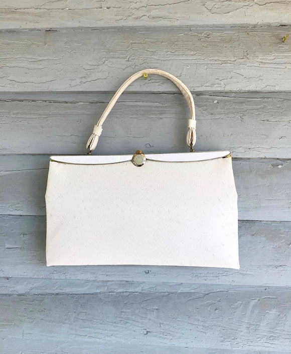 1960's Large Cream faux Ostrich handbag.
