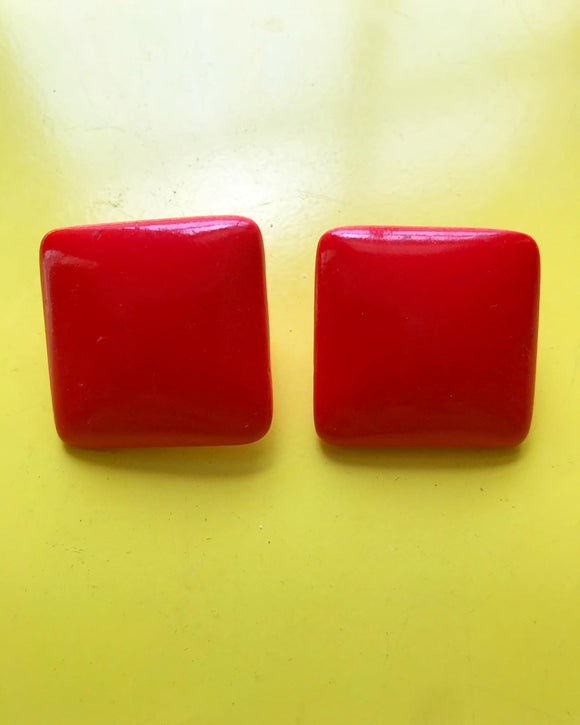 1980s bright red square clip on earrings