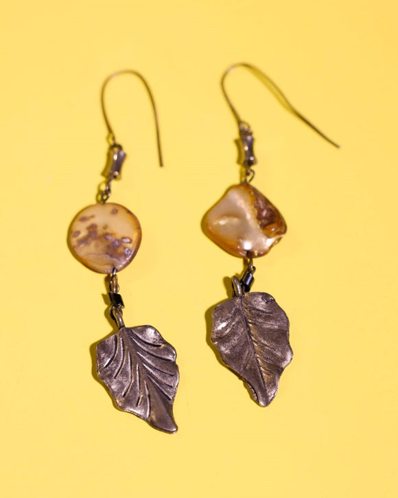 1990's silver leaf and mother of pearl dangle earrings