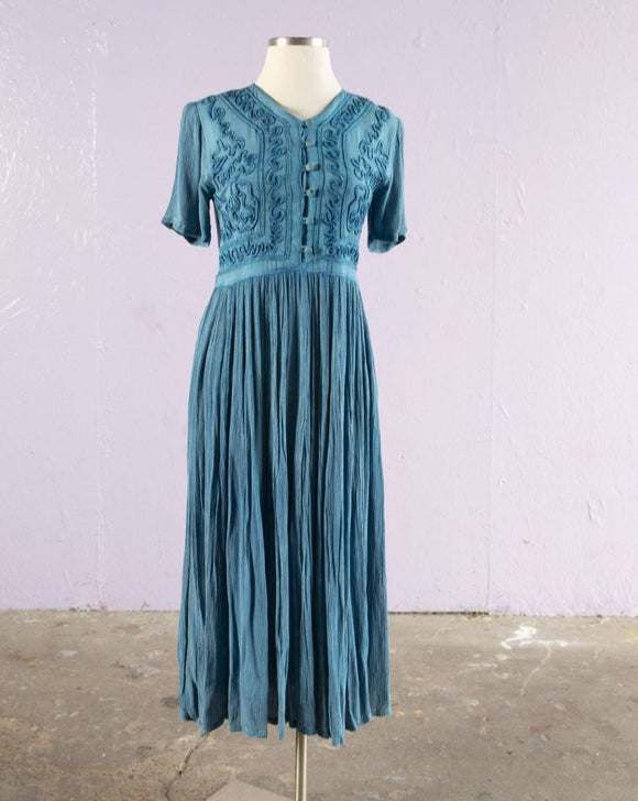 1990's Turquoise crinkle rayon Indian maxi dress with soutache embellished bodice