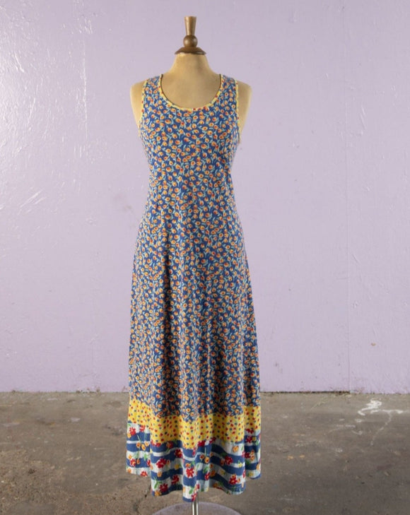 1990's Carolle Little Jersey blue floral maxi dress