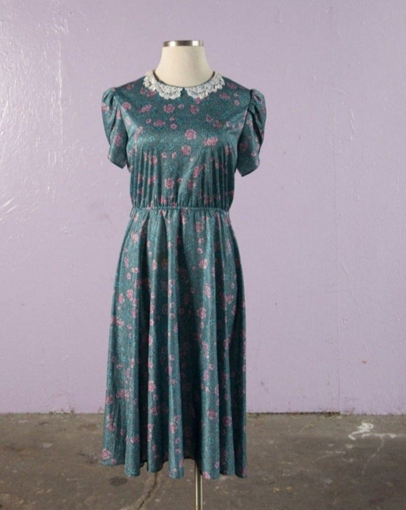 1970's Teal Green floral polyester dress with laced peter pan collar