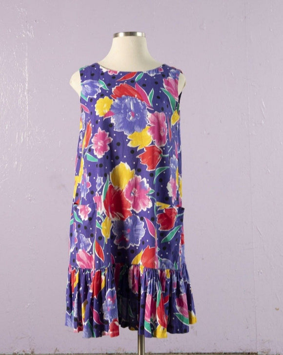 1990's Purple drop waist floral plus size dress