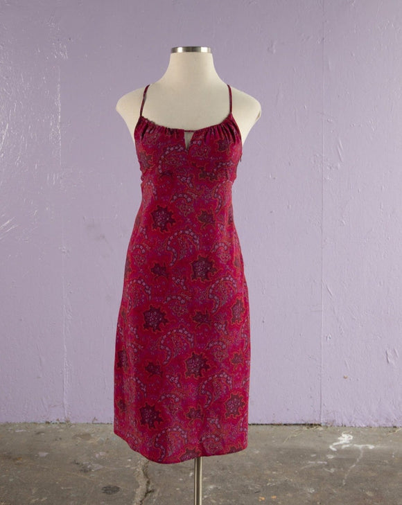 1990's/ Y2K Fuchsia paisley floral slip dress with keyhole neckline and open criss-cross tie back
