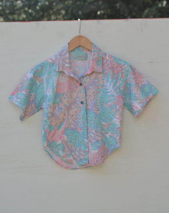 1990's Pastel Leopard and tropical jungle print button down.