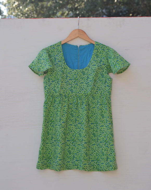 1970's Green & Blue Psychedelic floral baby doll dress with cape sleeves