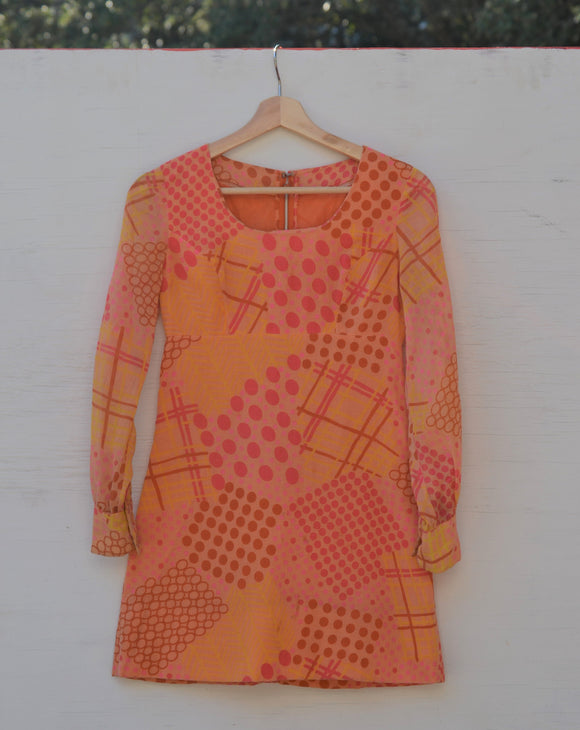 1960/1970's Orange & Pink polka dot min mod dress with sheer long sleeves
