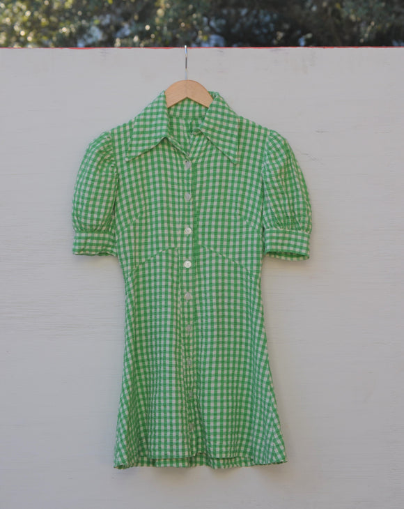 1960/1970's Green & White Plaid seer sucker dress with puff sleeve