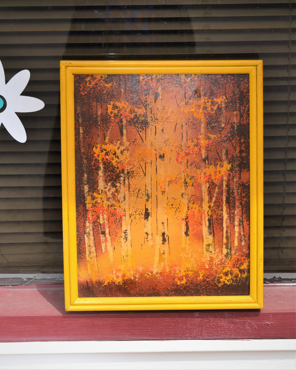 Yellow Abstract Tree Painting