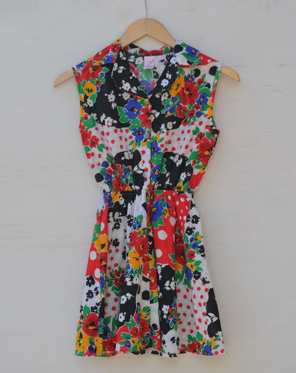 1990's Sleeveless Red, Black & White color block floral dress