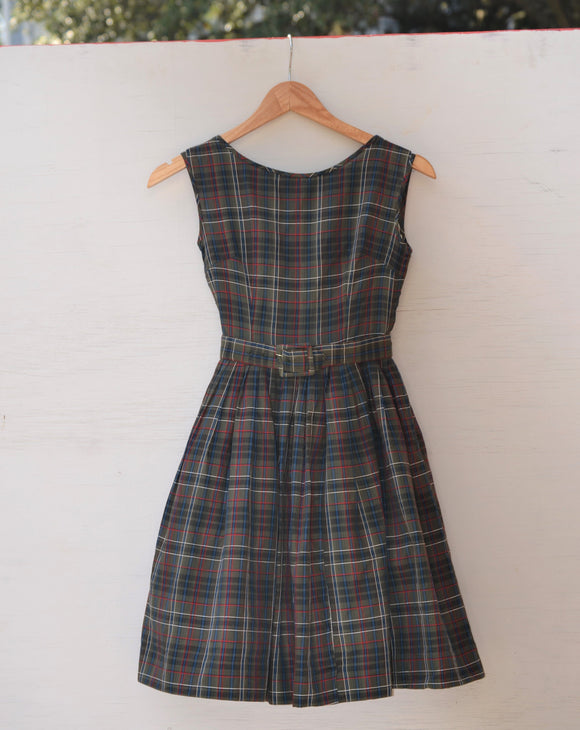 1950's Sleeveless Army Green, Red, Navy Blue and White plaid dress