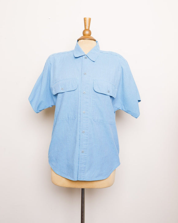 1990's Lizwear Turquoise and blue pinstriped cotton button down short sleeve shirt