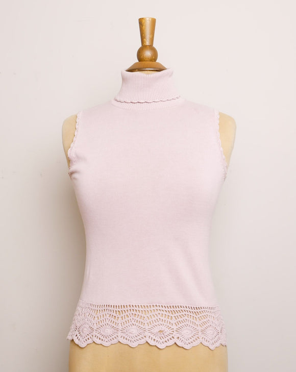 Y2K Lilac sleeveless turtleneck knit top with crochet hem and trim