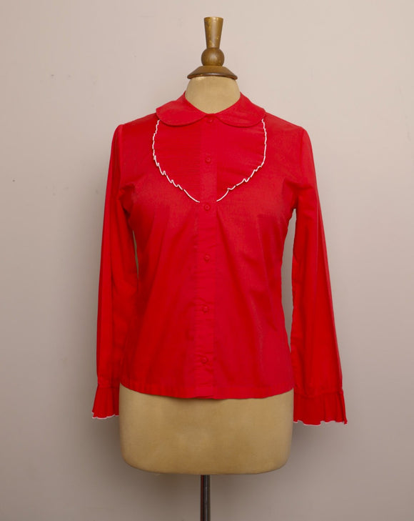 1970's Red long sleeve button up top with a accordion pleated bib & peter pan collar
