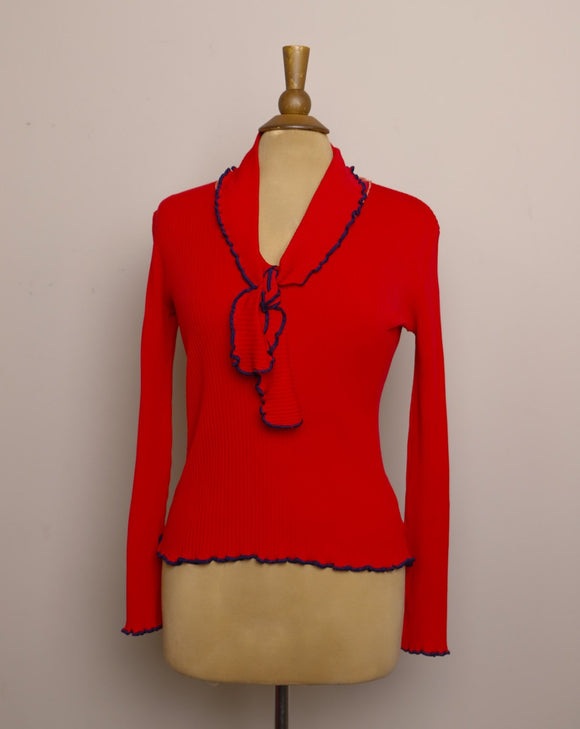 1970's Red ribbed V-neck top with navy blue lettuce trim & tie bow tie