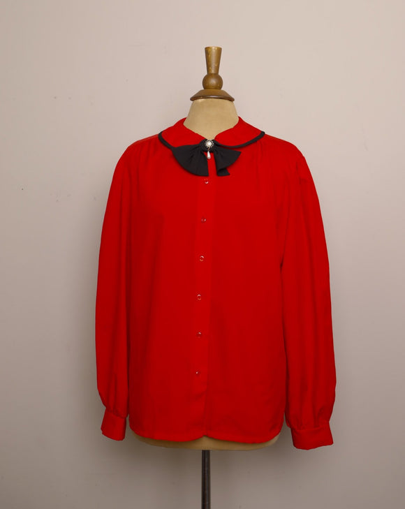 1990's Red long sleeve button up with peter pan collar and detachable black bow tie