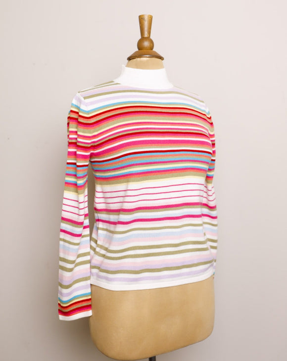 Y2K Pink candy striped long sleeve ribbed mock neck knit top