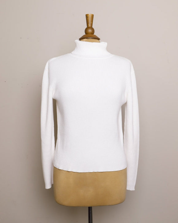 White ribbed turtleneck long sleeve top