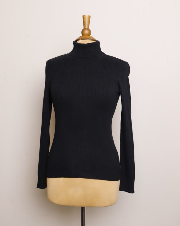 Y2K Black ribbed long sleeve turtleneck top