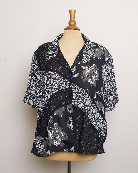 1990's Sheer Black & White floral and Polka dots color block Plus size button up top