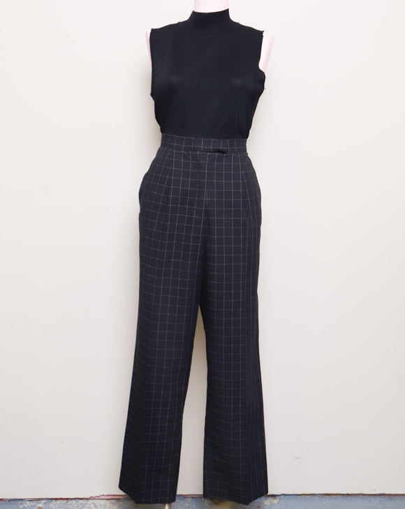 1990's Black grid print high waist pants with pockets