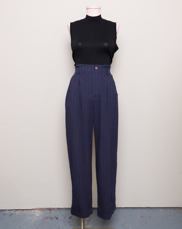 1990's Navy blue and red striped high waist pants