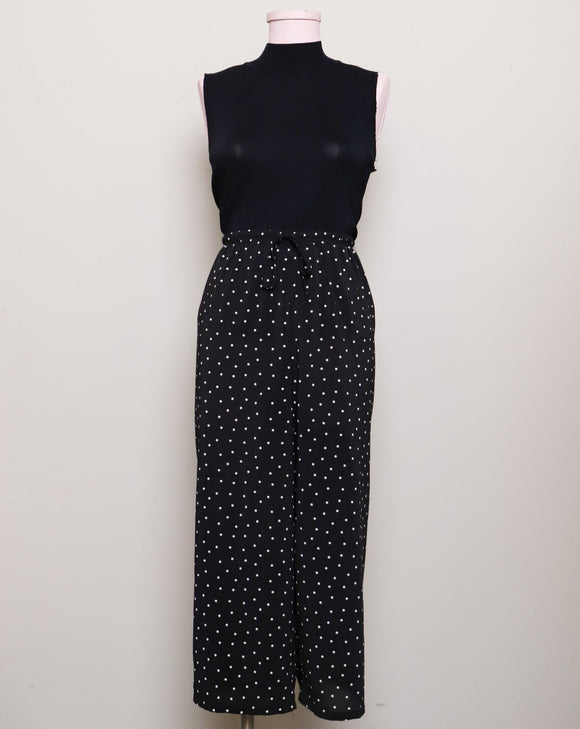 Black Polka dot sheer capri pants