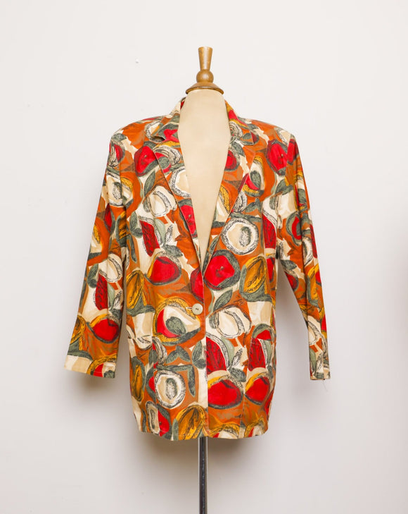 1990's Tan, Red abstract fruit printed blazer with pockets