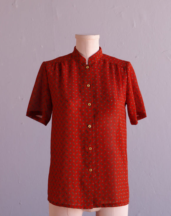 1980's Sheer Red abstract blouse with a mandarin collar