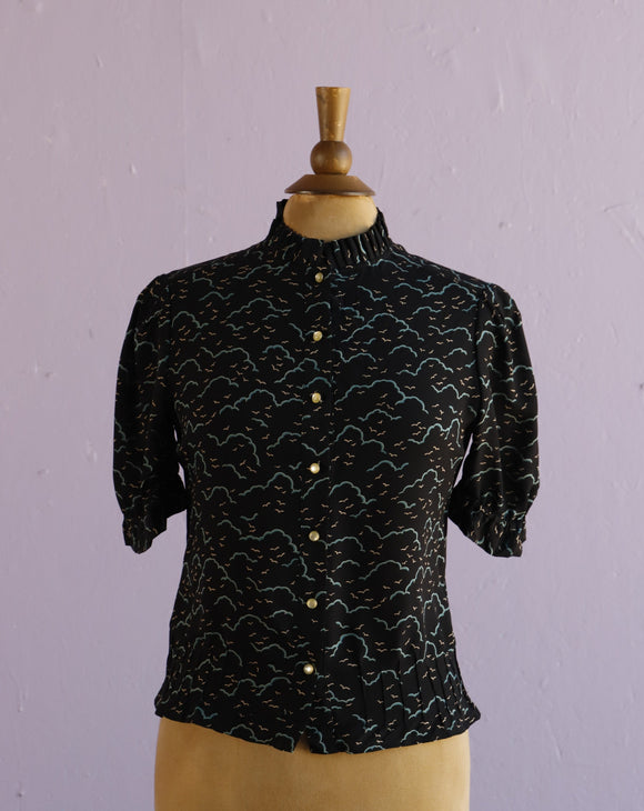 Marc Jacobs Black sheer cloud & bird print high neck button down blouse