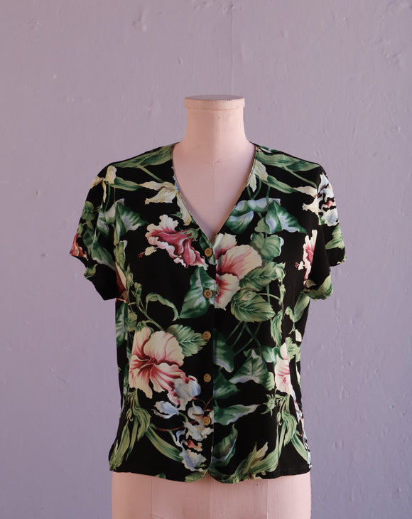 1990's Black tropical floral button down shirt