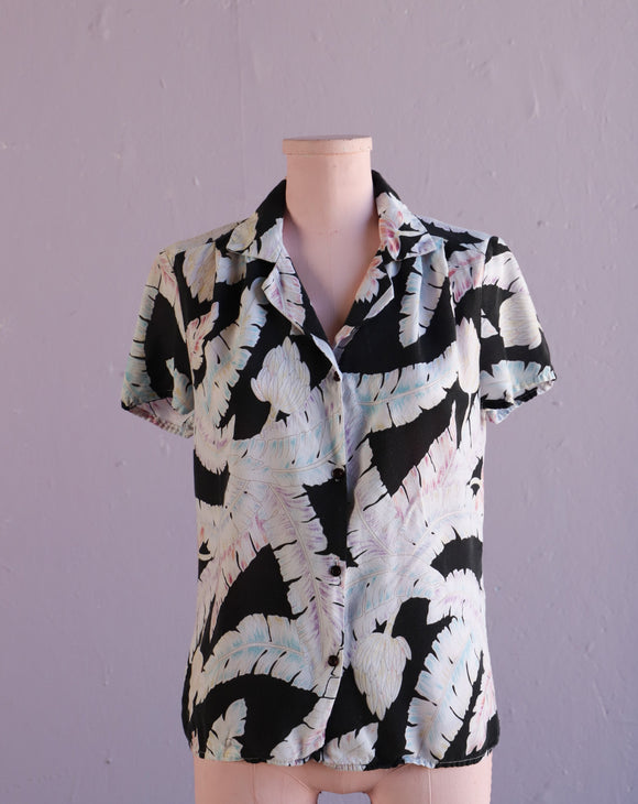 1990's Black & Pastel Hawaiian floral button down shirt