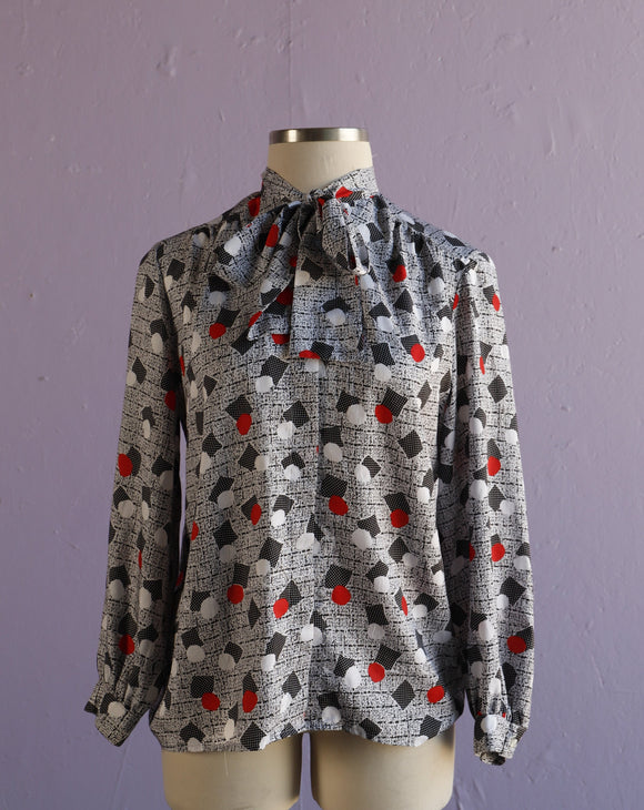 1980's Black, White & Red Polka dot Geo print with pussy bow tie button down blouse