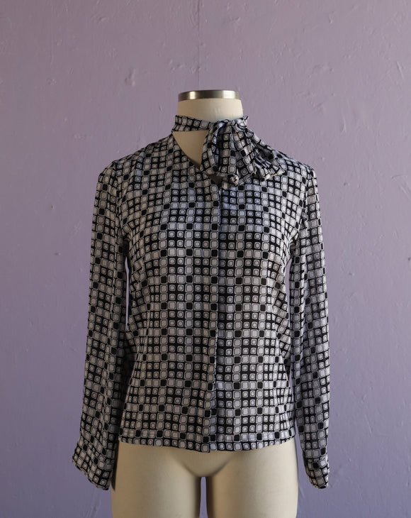 Black & White geo print with pussy bow tie button down blouse