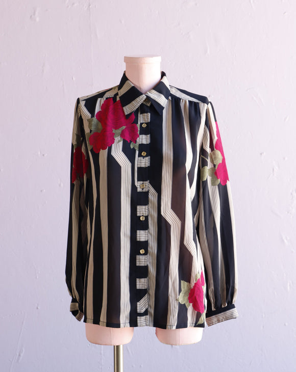 Sheer Navy  & Striped with fuchsia roses button down shirt