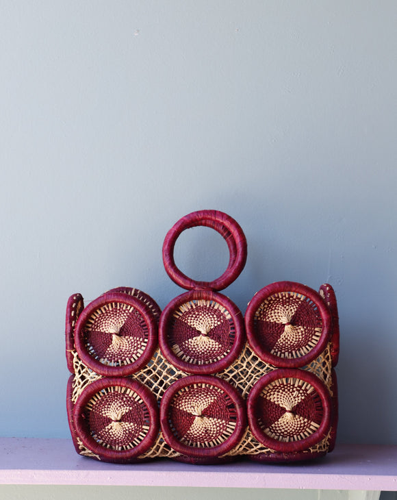 Amazing Mod Purple crochet medallion straw handbag