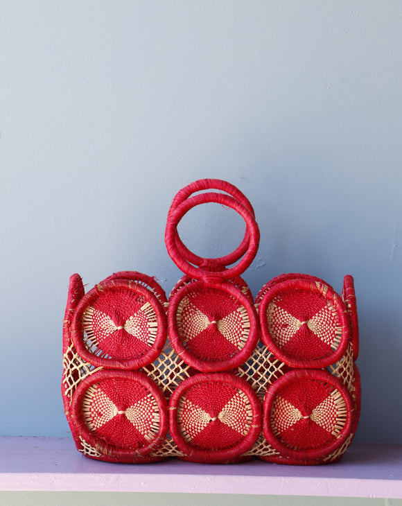 Amazing Mod Red crochet medallion straw handbag