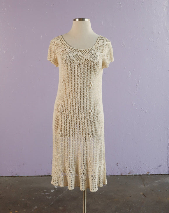 beige fully crocheted off the shoulder dress