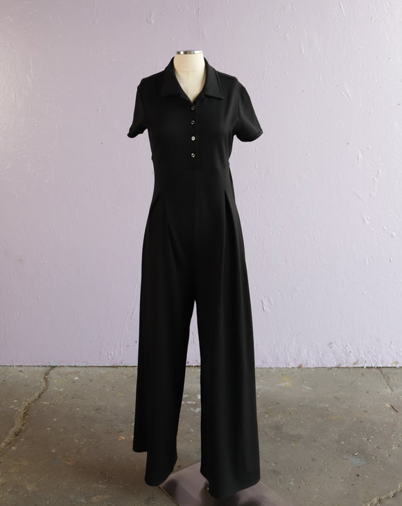 1990's black polyester cap sleeve jumpsuit