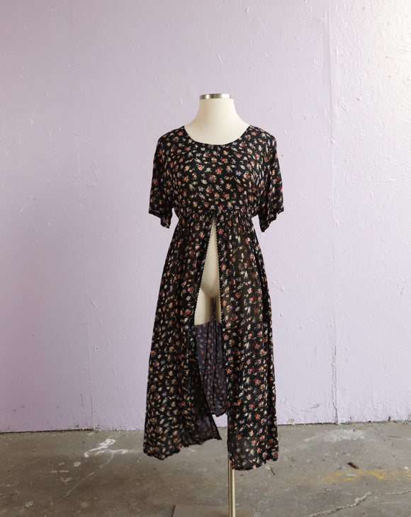 1990's Black floral duster dress/top