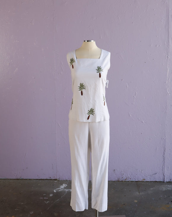 1990's White tropical 2 piece pant set