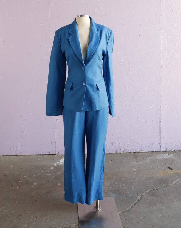 1990's Electric Blue 2 pc suit set