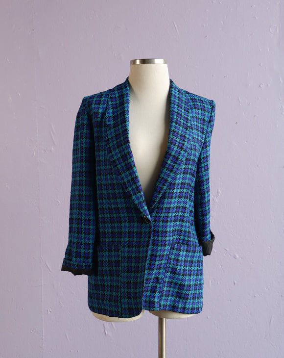 1990's Turquoise & Black hounds tooth blazer jacket