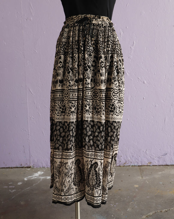 Black & White soft sheer Indian gauze cotton skirt with bell drawstring waist